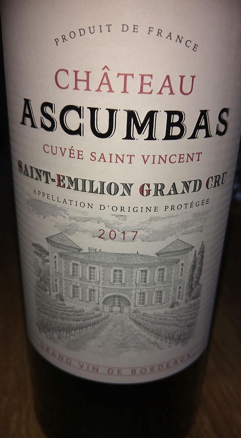 Cuvée Saint Vincent ( Château Ascumbas ) 2017