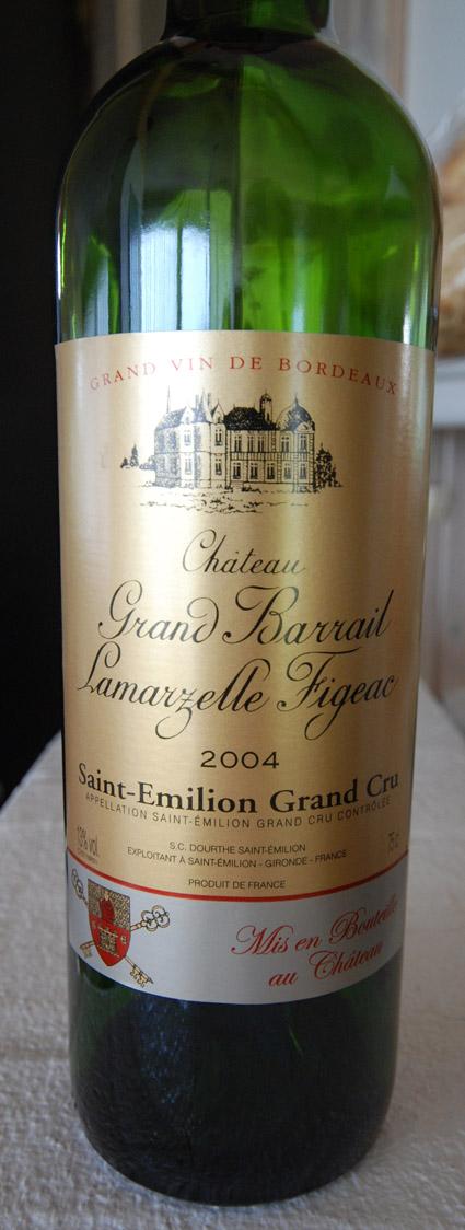 Château Grand Barrail L.Figeac ( Château Grand Barrail Lamarzelle Figeac ) 2004