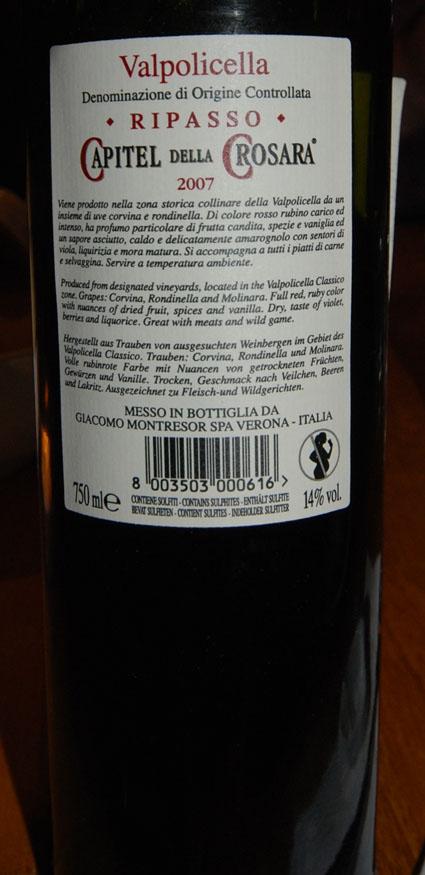 Valpolicella Classico Rip. Capitel della Crosara ( Giacomo Montresor ) 2014