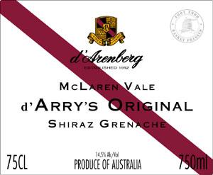d`Arry`s Original Shiraz Grenache ( D`Arenberg ) 2011