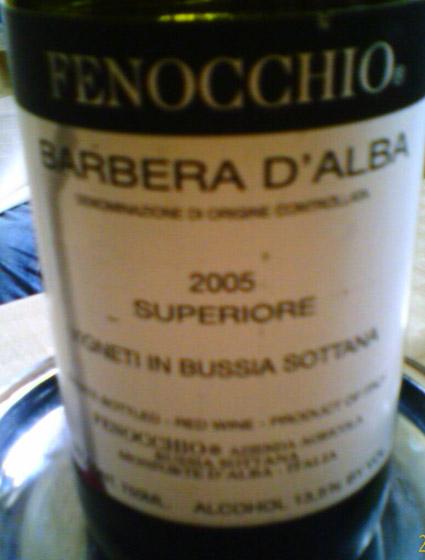 Barbera d`alba Superiore ( Fenocchio ) 2005