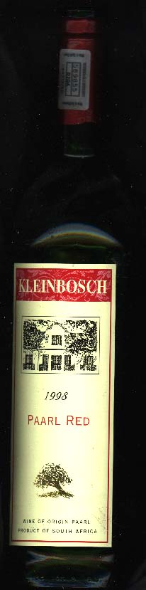 Kleinbosch Paarl Red ( Cape Wine Cellars ) 1998