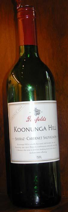 Koonunga Hill shiraz cabernet ( Penfolds Wines ) 1999