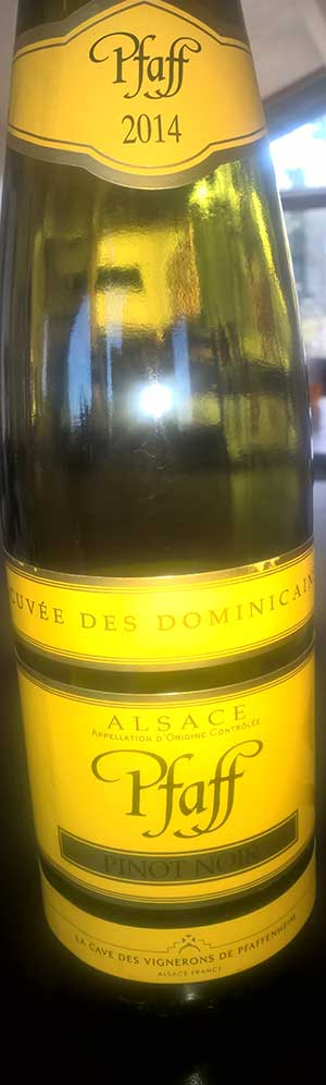 Pfaff Pinot Noir Cuvee des Dominicains ( Pfaffenheim ) 2014