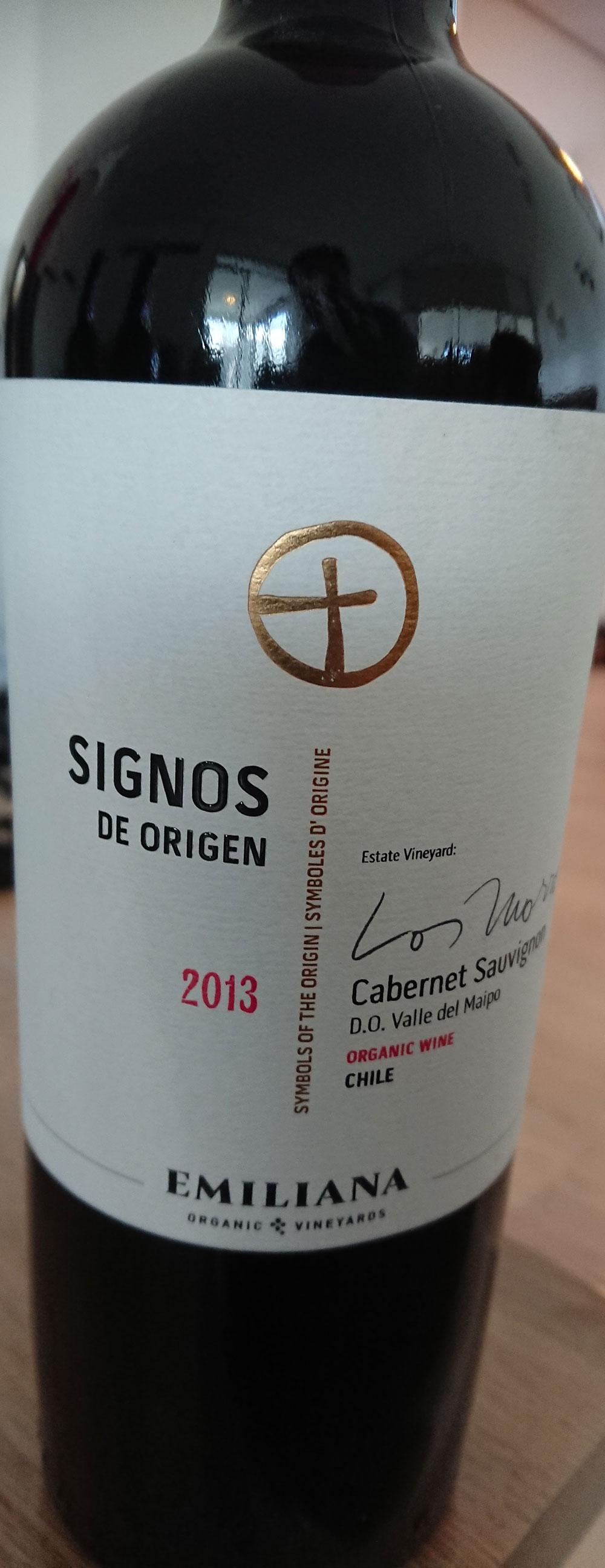Signos de Origen Cabernet Sauvignon ( Vinedos Organicos Emiliana ) 2013