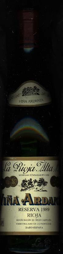 Vina Ardanza Reserva ( la Rioja Alta ) 1989