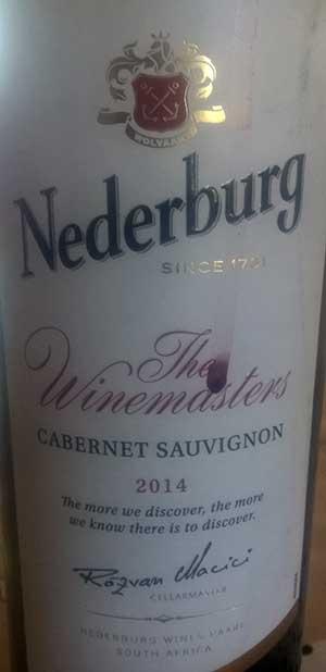 Winemasters Cabernet Sauvignon ( Nederburg ) 2014